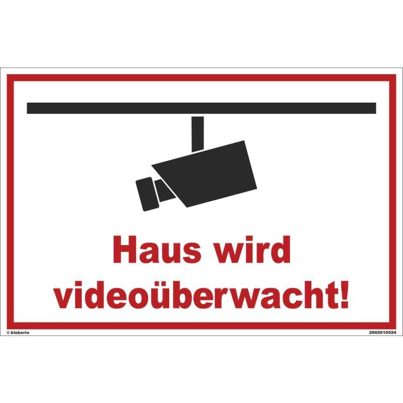 Videoüberwachung Aluminiumverbundplatte Schild 60 x 40 cm Haus